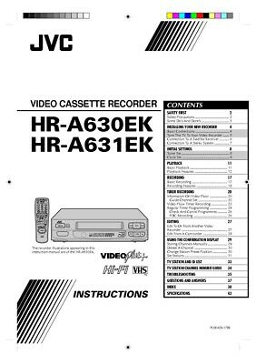 JVC HR-A630EK HR-A631EK VCR Owners Instruction Manual Reprint