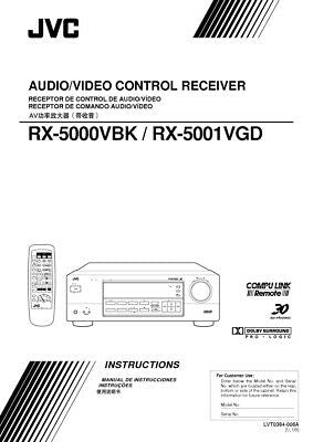 JVC RX-5000VBK RX-5001VGD Receiver Owners Instruction Manual Reprint