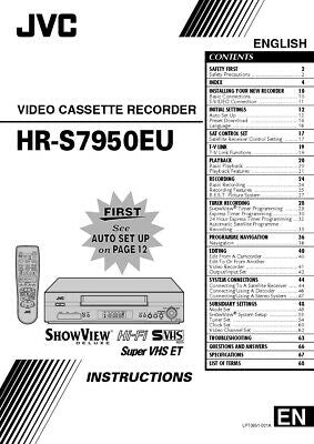 JVC HR-S7950EU VCR Owners Instruction Manual Reprint