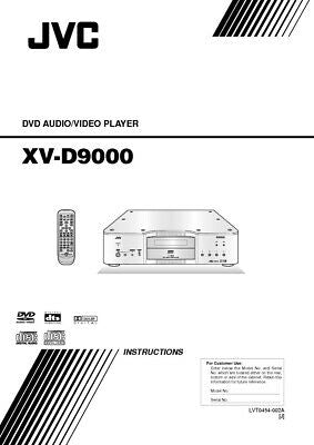 JVC XD-V9000 DVD Player Owners Instruction Manual Reprint