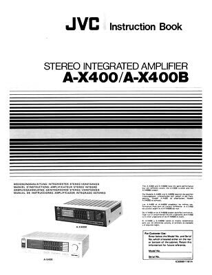 JVC A-X400 A-X400B Amplifier Owners Instruction Manual Reprint