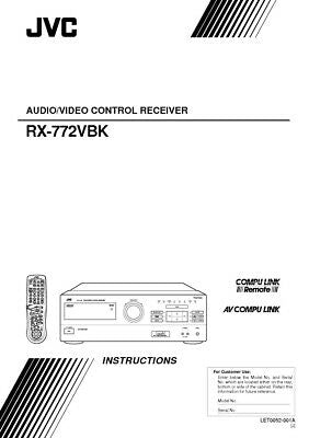 JVC RX-772VBK Receiver Owners Instruction Manual Reprint