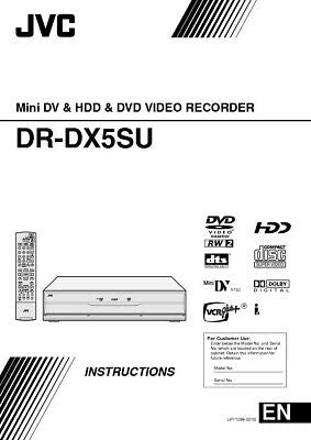 JVC DR-DX5SU Mini DV & DVD Player Owners Instruction Manual Reprint