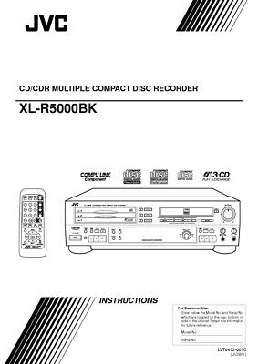JVC XL-R5000BK CD Recorder Owners Instruction Manual Reprint