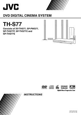 JVC TH-S77 XV-THS77 Home Theater System Owners Instruction Manual Reprint