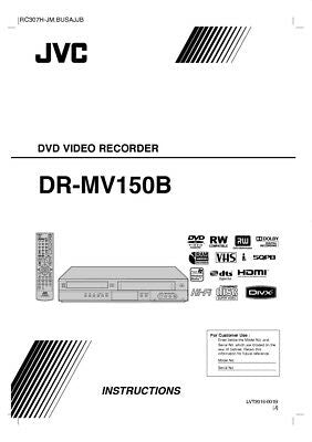 JVC DR-MV150B DVD Recorder Owners Instruction Manual Reprint