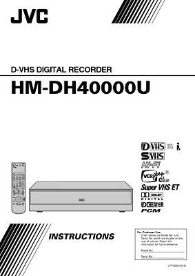JVC HM-DH40000U VCR Owners Instruction Manual Reprint