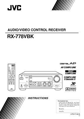 JVC RX-778VBK Receiver Owners Instruction Manual Reprint