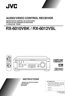 JVC RX-6010VBK RX-6012VSL Receiver Owners Instruction Manual Reprint