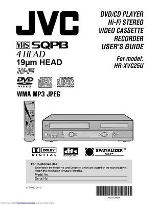 JVC HR-XVC25U VCR Owners Instruction Manual Reprint