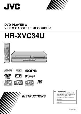 JVC HR-XVC34U VCR Owners Instruction Manual Reprint