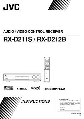 JVC RX-D211S RX-D212B Receiver Owners Instruction Manual Reprint