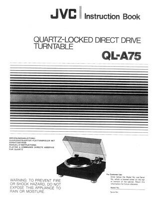 JVC QL-A75 Turntable Owners Instruction Manual Reprint