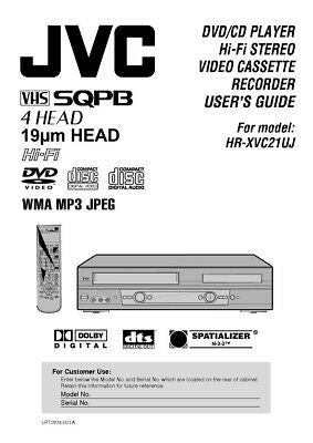 JVC HR-XVC21UJ VCR Owners Instruction Manual Reprint