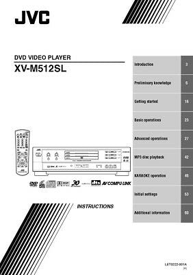 JVC XV-M512SL DVD Player Owners Instruction Manual Reprint