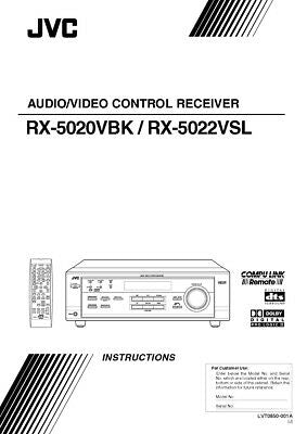 JVC RX-5020VBK RX-5022VSL Receiver Owners Instruction Manual Reprint