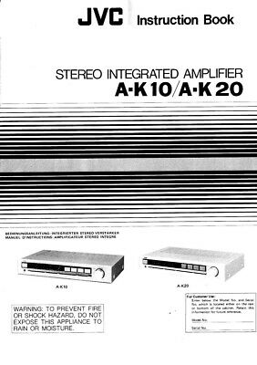 JVC A-K10 A-K20 Amplifier Owners Instruction Manual Reprint