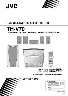 JVC TH-V70-XV-THV70 Home Theater System Owners Instruction Manual Reprint