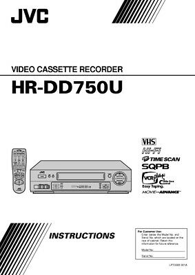 JVC HR-DD750U VCR Owners Instruction Manual Reprint