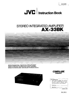 JVC AX-33BK Amplifier Owners Instruction Manual Reprint