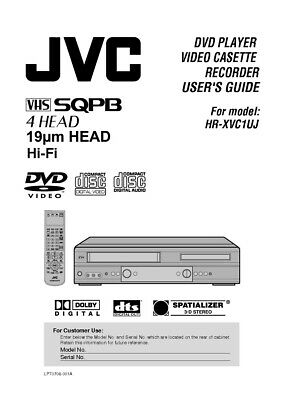 JVC HR-XVC1UJ VCR Owners Instruction Manual Reprint
