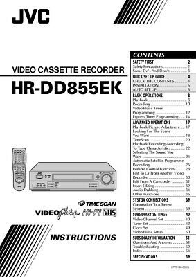 JVC HR-DD855EK VCR Owners Instruction Manual Reprint