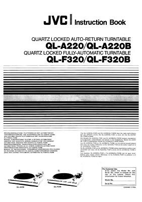 JVC QL-A220 QL-A220B QL-F320 QL-F320B Turntable Owners Manual