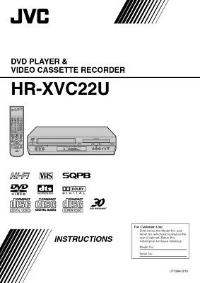 JVC HR-XVC22U VCR Owners Instruction Manual Reprint