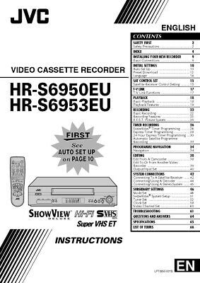 JVC HR-S6950EU HR-S6953EU VCR Owners Instruction Manual Reprint