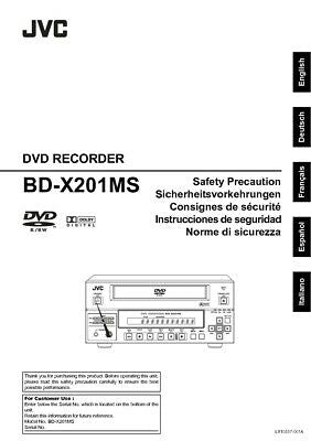 JVC BD-X201MS DVD Recorder Owners Instruction Manual Reprint