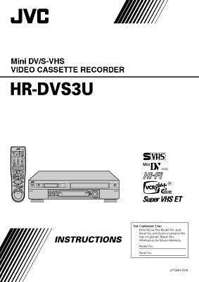 JVC HR-DVS3U VCR Owners Instruction Manual Reprint