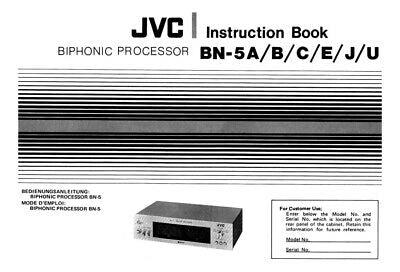 JVC BN-5A B C E J U Processor Owners Instruction Manual Reprint