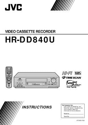JVC HR-DD840U VCR Owners Instruction Manual Reprint