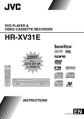 JVC HR-XV31E VCR Owners Instruction Manual Reprint