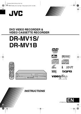 JVC DR-MV1B DR-MV1S DVD Recorder Owners Instruction Manual Reprint