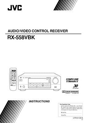 JVC RX-558VBK Receiver Owners Instruction Manual Reprint