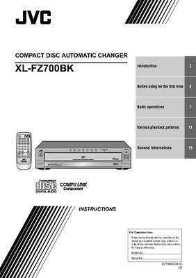 JVC XL-FZ700BK CD Changer Owners Instruction Manual Reprint