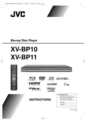 JVC XV-BP10 XV-BP11 DVD Player Owners Instruction Manual Reprint