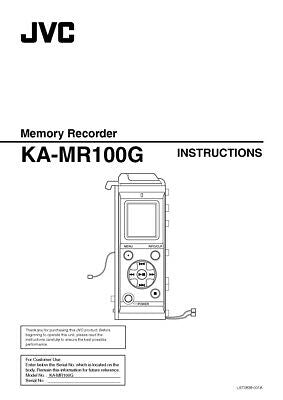 JVC KA-MR100G Memory Recorder Owners Instruction Manual Reprint