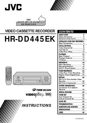 JVC HR-DD445EK VCR Owners Instruction Manual Reprint