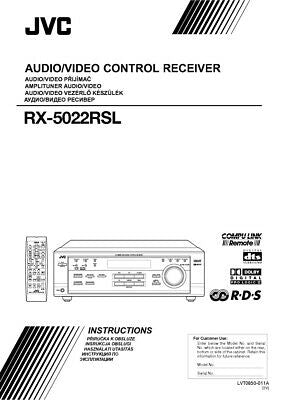 JVC RX-5022RSL Receiver Owners Instruction Manual Reprint