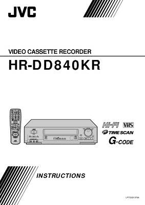 JVC HR-DD840KR VCR Owners Instruction Manual Reprint