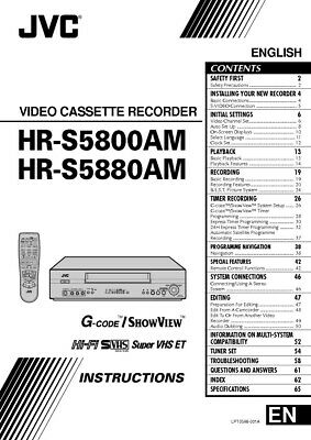 JVC HR-S5800AM HR-S5880AM VCR Owners Instruction Manual Reprint