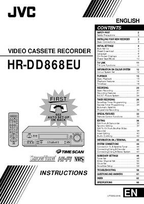 JVC HR-DD868EU VCR Owners Instruction Manual Reprint