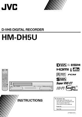 JVC HM-DH5U VCR Owners Instruction Manual Reprint