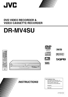JVC DR-MV4SUS DVD Recorder Owners Instruction Manual Reprint