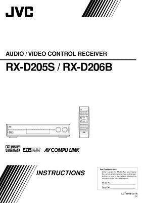 JVC RX-D205S RX-D206B Receiver Owners Instruction Manual Reprint
