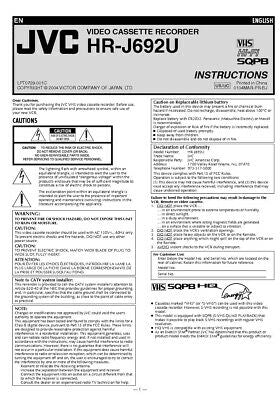 JVC HR-J692U VCR Owners Instruction Manual Reprint
