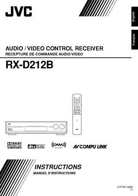 JVC RX-D212B Receiver Owners Instruction Manual Reprint
