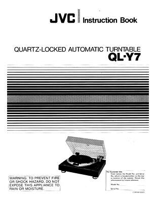 JVC QL-Y7 Turntable Owners Instruction Manual Reprint